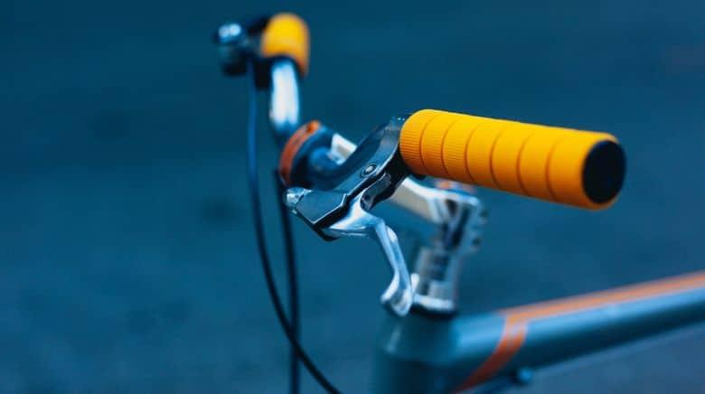 Hybrid bike with orange handlebar