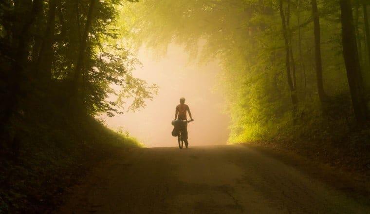 Person biking in nature