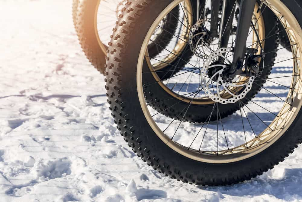 Wheels of a fatbike with disc brakes